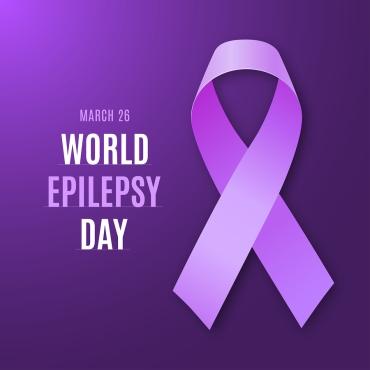 World Epilepsy Day. Purple Ribbon On Bright Dark Violet Backgrou